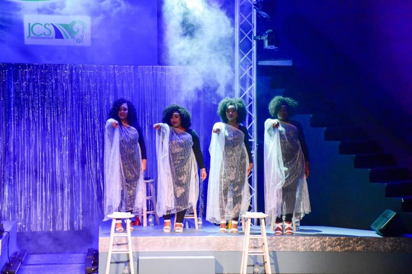 Jeannine Clarke jackson, Llettesha Sylvester, Khadaesha Worrell Sobers, Nikia Coutou, in JCS Entertainment's Musical Theatre Production of Altar Boyz directed by Raymond Choo Kong at Central Bank Auditorium Trinidad
