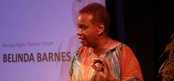 Drama educator, director and actress Belinda Barnes-Durity at the Monday Night Theatre Forum, May 16, at the Trinidad Theatre Workshop, Belmont. Photo courtesy: Shari Petti