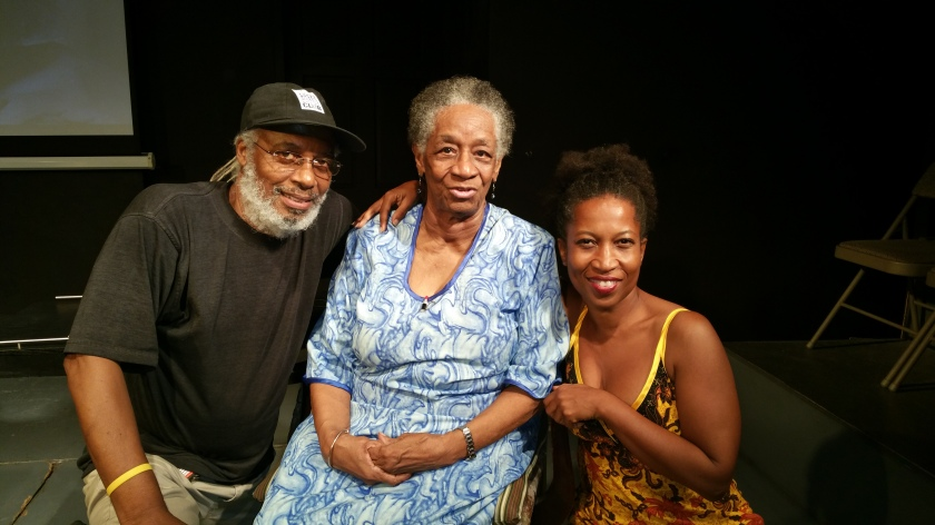 From left to right: playwright/director Tony Hall, dance educator Joyce Kirton and dancer/choreographer Sonja Dumas at the Monday Night Theatre Forum | Photo Credit: Paula Lindo