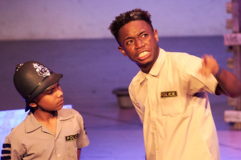 Kaveesh Silvan (left) and Daniel Baptiste (right) in 'The Inspector' for the 10th Biennial Caribbean Secondary Schools' Drama Festival | Photo Courtesy: The Cultural Development Division – Antigua and Barbuda