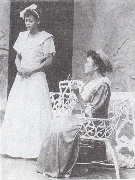 Tammitha Shaw (left) and Mavis Lee Wah (right) in The Importance of Being Earnest with the San Fernando Theatre Workshop