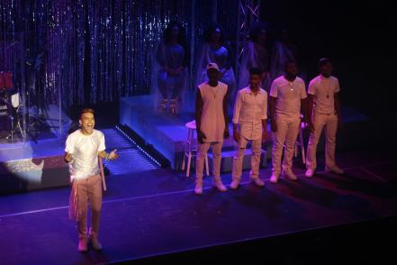 Mark (Kyle Richardson, left) has an 'Epiphany' in JCS Entertainment's production of ALTAR BOYZ | Photo Credit: Darren Lalla