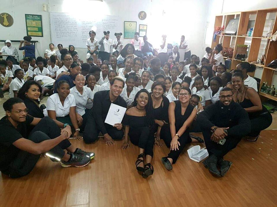Anna-Lisa Wickham and the Cast of 'DIANA' - School Tour | Photo courtesy Lylah Persad